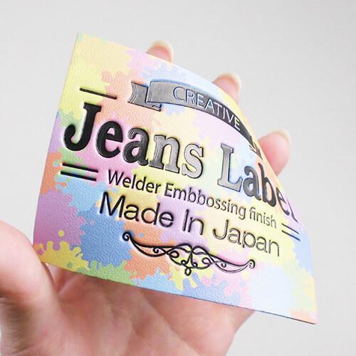 人工皮革 カラープリント+エンボス パステル柄